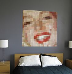 You will not believe how much things you can create with paint chips!    This Marilyn Monroe art is made completely from Benjamin Moore paint chips.    Looks like I'm going to have to take a lot of trips to Home Depot today...