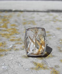 Golden Rutilated Quartz Cocktail Ring Handmade from Recycled Palladium and Sterling Silver