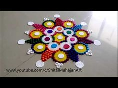 Innovative and Creative Multicolored Rangoli Designs Using Bangles# Easy Rangoli by Shital Mahajan. Easy Rangoli Designs Diwali, Rangoli Designs Latest, Rangoli Designs Flower, Free Hand Rangoli Design, Rangoli Border Designs, Small Rangoli Design, Rangoli Ideas, Diwali Rangoli, Flower Rangoli