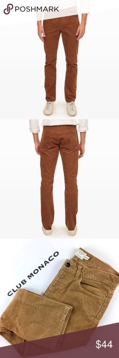 Club Monaco 5 Pocket Slim Corduroy Pants Club Monaco Slim Straight 5 pocket Corduroy pants in camel tan color. Stock photos are to show the style and fit of these pants. Size 29/30. Pre owned in great condition. Please see all photos. Club Monaco Pants Corduroy