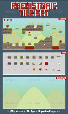 Prehistoric Game Tile Set - Tilesets Game Assets