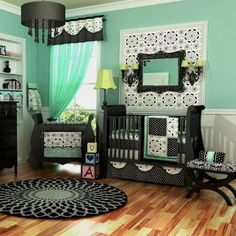 mint and black baby nursery! so cute! - See more cribs & decor at http://pyrushomefurniture.com/category/48258861841/1/Nursery-Furniture-Decor.htm
