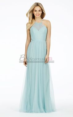 Blue Tulle Long Halter Bridesmaid Dress BD-IE-1198