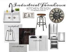 Industrial Farmhouse Kitchen Inspiration Design Board - Blissfully Ever After - March 2014.