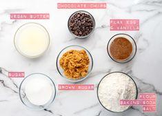Chewy Vegan Chocolate Chip Cookies - ilovevegan.com #vegan Vegan Chocolate Chip Cookie Recipe, Chocolate Chip Cookie Dough, Vegan Gingerbread Cookies, Vegan Candies, Food Words, Baking Flour, Yummy Food, Tasty, Vegan Recipes