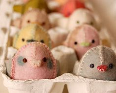 Felt Pink and Light Blue Easter Chicken by TextilePlatypus on Etsy, $18.00