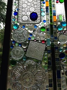 Glass plates glued to a windownius do it yourself creations reclaimed with crystal cut dishware stained glass and glass tiles kg solutioingenieria Gallery