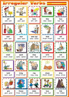 Pictionary on irregular verbs. Pictionary on irregular verbs. I hope it helps your students to learn the irregular verbs easier with the help of pictures. Have a nice day! Tenses Grammar, Grammar And Vocabulary, Grammar Lessons, English Vocabulary, Games To Learn English, English Games, Kids English, English Idioms, English Lessons