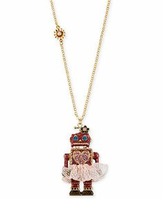 Betsey Johnson Necklace, Antique Gold-Tone Robot Tutu Pendant Long Necklace - Fashion Necklaces - Jewelry & Watches - Macy's