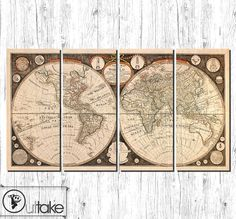 Cotton linen world map fabric for craft vintage color map of the canvas art print ready to hang antique world map by outtakecanvas 19900 gumiabroncs Gallery