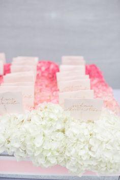 Ombre hydrangea escort cards: http://www.stylemepretty.com/2015/05/09/the-prettiest-ombre-wedding-details/