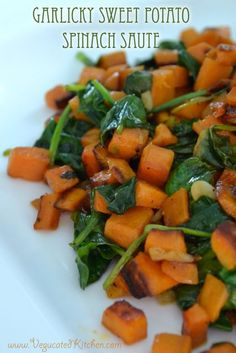 Garlicky Sweet Potato Spinach Saute
