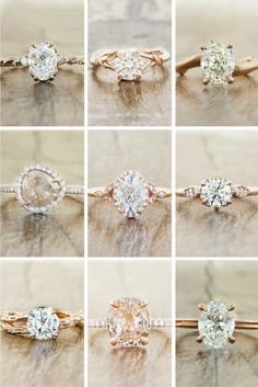 Some of our bestselling rose gold engagement rings. by Ken & Dana Design.