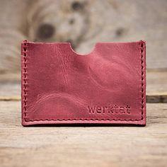 werktat Leder-Etui für Visitenkarten und Kreditkarten, Kartenwerk, WT 0810, rot