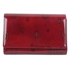 7f2c8f21e Preowned Cartier Paris Burgundy Patent Leather Happy Birthday Flap...  ($361) ❤ liked on Polyvore featuring bags, wallets, red, zip wallet, pocket  wallet, ...