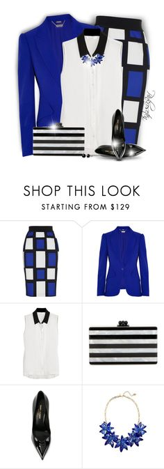 """""""Bright Blazer for Fall"""" by pinkroseten ❤ liked on Polyvore featuring Alexander McQueen, W118 by Walter Baker, Edie Parker, Yves Saint Laurent, Kate Spade and Belk & Co."""