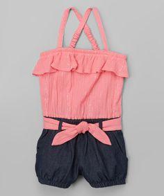Look what I found on #zulily! Coral Metallic-Stripe & Jean Romper - Infant, Toddler & Girls #zulilyfinds