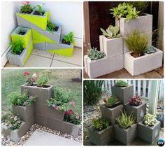 #DIY Corner Cinder Block Planter-10 Simple Cinder Block Garden Projects #Gardening