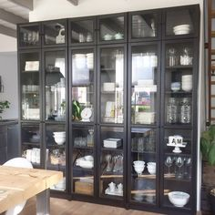 This huge black cabinet stores all my daily use kitchenware. Can you believe this is the Billy bookcase from Ikea? Glass Kitchen, Ikea Kitchen, Home Decor Kitchen, Kitchen Interior, Kitchen Storage, Kitchen Design, Ikea Billy Hack, Ikea Billy Bookcase Hack, Billy Bookcase With Doors