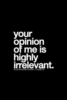 your opinion of me is highly irrelevant