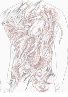 Dragon Tattoo Colour, Black Dragon Tattoo, Dragon Tattoo Back, C Tattoo, Tattoo Drawings, Back Tattoos, Body Art Tattoos, Japan Tattoo, Oriental Tattoo
