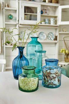 Blues and greens,  vases.  Beach / Coastal decor