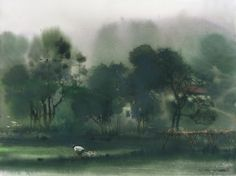 Watercolor, Wet in wet washes - Lin Shun-Shiung (林順雄)