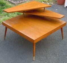 Mid Century Modern 3-Tier Walnut Table