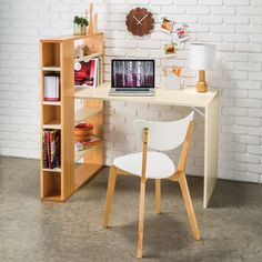 With adjustable shelving and modern styling, this desk is ideal for a dorm or apartment.
