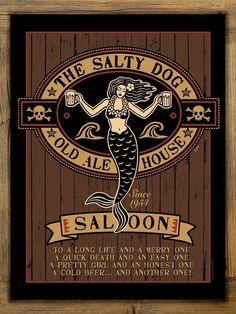 Salty Dog Saloon Metal Sign on Rustic Barn Wood Frame, mermaid pirate bar art #Handmade #RusticPrimitive