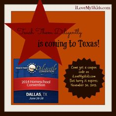 Teach Them Diligently Coupon code for 4 different conferences around the United States including Texas!
