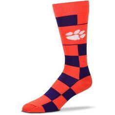 For Bare Feet Clemson University Jumbo Check Thin Knee High Dress Socks (Orange, Size One Size) - NCAA Licensed Product, NCAA Novelty at Academy Sp...