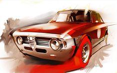 Car design Inspiration Alfa Romeo, Motion and Mood Highlight This Designer's Work Car Alfa Romeo Gta, Alfa Romeo Logo, Car Art, Auto Body Repair Shops, Car Repair, Automobile, Car Illustration, Car Posters, Car Sketch