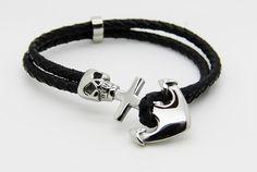 Bracelet homme ancre et skulls sur cuir par madewithloveinaiaciu