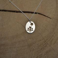 Three cute cats under a full  moon necklace.925 by PAMANOVA