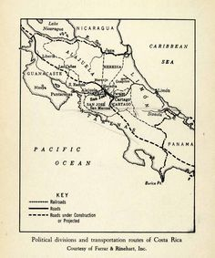 1943 Print Transportation Route Political Division Costa Rica Map Railroad XGW1