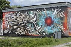 キエフからチェルノブイリ位に入る国道っぷちのチェルノブイリ記念館の壁一面に描かれている絵。 爆発した原子炉から飛び出した燃料棒がコウノトリを刺し貫いている強烈な絵。 2011年7月23日チェルノブイリにて撮影。