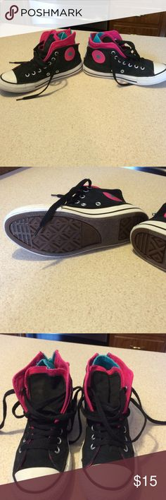 Converse for little girls Black, hot pink and till color zipper in the back Converse Shoes Sneakers