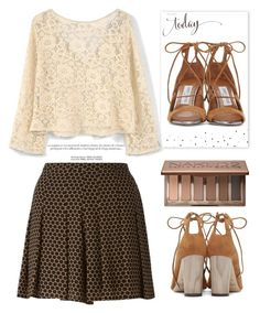 """""""Lace Top"""" by grinevagh ❤ liked on Polyvore featuring MICHAEL Michael Kors, The Pink Orange, Jimmy Choo, Urban Decay and MANGO"""