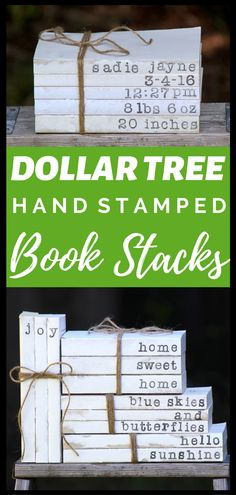 DIY Dollar Tree Hand Stamped Book Stacks This is my favorite Dollar Tree craft of all time Learn how to take 1 Dollar Tree books and turn them into cute farmhouse hand st. Dollar Store Hacks, Dollar Store Crafts, Crafts To Sell, Dollar Stores, Sell Diy, Dollar Dollar, Diy Crafts Dollar Tree, Dollar Tree Cricut, Diy Projects To Sell