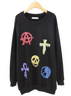 Black Long Sleeve Cross Skull Print Sweatshirt US$24.43