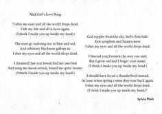 "Plath | ""Mad Girl's Love Song"" | #poem #plath"