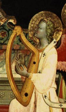 Firenze, Galleria dell'Accademia, Franchi Rossello di Jacopo, Incoronazione della Vergine con Angeli e Santi, detail, 1420