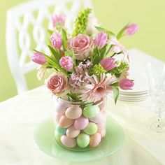 Easter centerpiece - I did something similar with pink tulips and bright colored plastic eggs