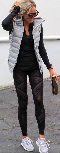 Puffer on gymwear | grey black outfit | designer gym style | Spring autumn look