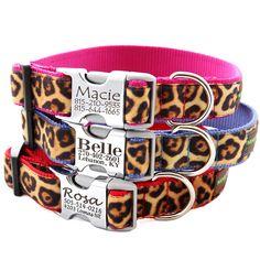 Personalized Engraved Buckle Dog Collar - Velvet Leopard - 8 colors