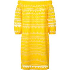 Trina Turk off-the-shoulder dress ($190) ❤ liked on Polyvore featuring dresses, yellow off shoulder dress, yellow dress, trina turk, trina turk dresses and off shoulder dress