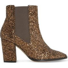 Dune Order glitter chelsea boots ($125) ❤ liked on Polyvore featuring shoes, boots, ankle booties, block heel booties, pointed-toe chelsea boots, high heel ankle booties, faux-fur boots and high heel booties