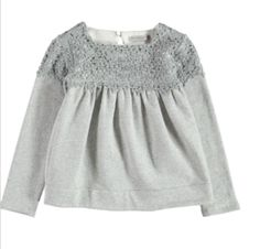 Ermanno Scervino Grey Detail Top  - Tops and T-shirts - Girls