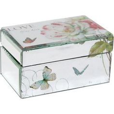 """Multicolor glass box with a floral motif.     Product: Box    Construction Material: Glass and wood   Color: Multi       Dimensions: 3.5"""" H x 6.25"""" W x 3.75"""" D"""